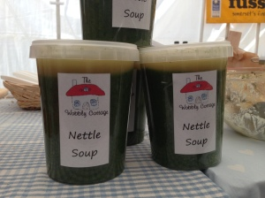 nettle soup by the wobbly cottage at Bridport Food Festival 2013