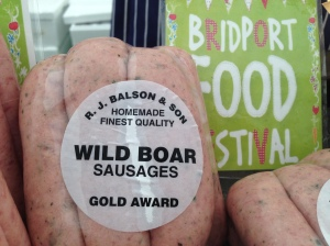R.J.Balson & Son wild boar sausages at the Bridport Food Festival 2013